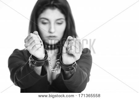 Attractive Woman Wearing Sexy Underwear In Handcuffs Isolated On White Background. Violence And Disc
