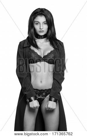 Attractive Woman Wearing Sexy Underwear In Handcuffs Isolated On White Background. Stop Violence And