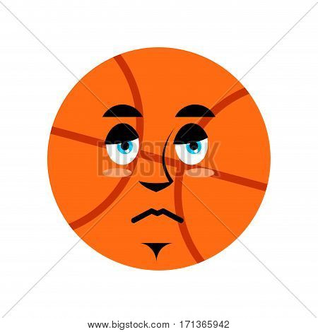 Basketball Sad Emoji. Ball Sorrowful Emotion Isolated