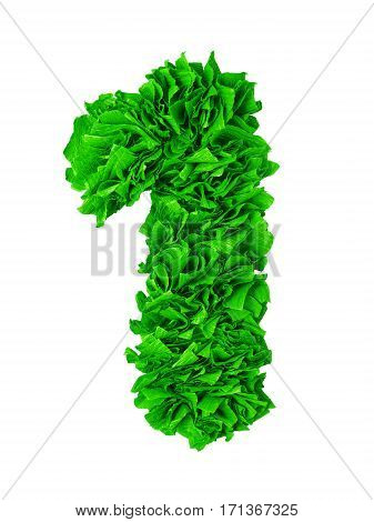 One. Handmade number 1 from gree crepe paper isolated on white background. Set of numbers from scraps of paper