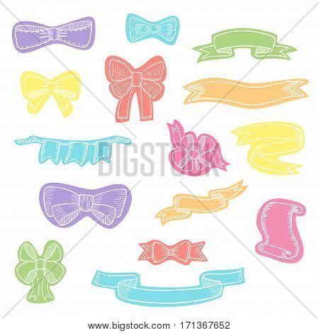 Doodle style banner, sketch ribbons and bows on white background isolated on white