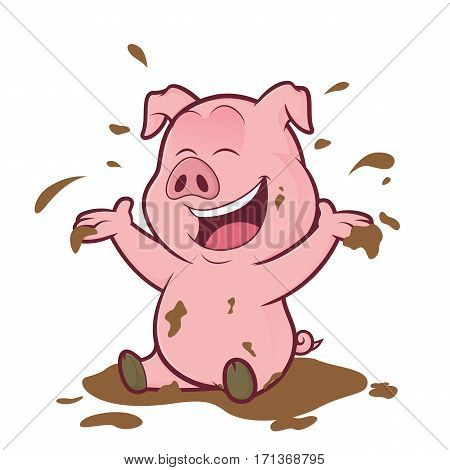 Clipart picture of a pig cartoon character playing in the mud