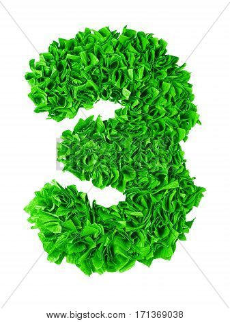 Three. Handmade number 3 from green crepe paper isolated on white background. Set of numbers from scraps of paper