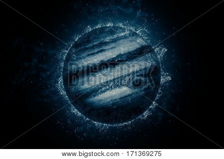 Planet in water - Jupiter. Science fiction art. Solar system. Elements of this image furnished by NASA