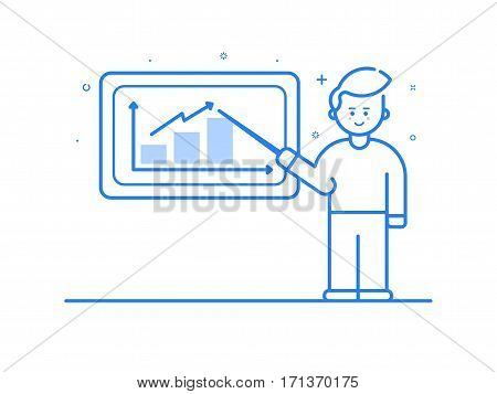 Vector illustration in flat linear style and blue colors - business conference and team training seminar - male speaker and the projection screen with information and sales statistics. Outline object.