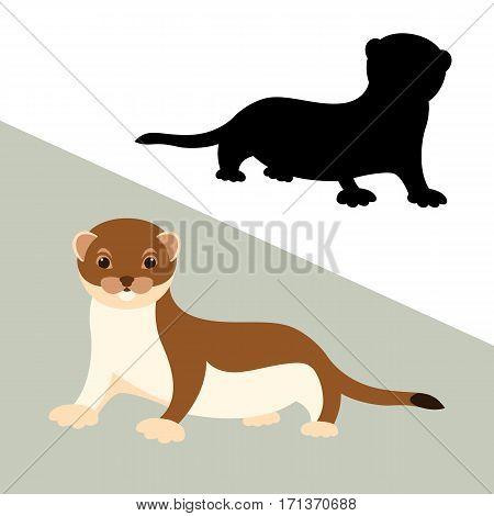 weasel vector illustration style Flat set black
