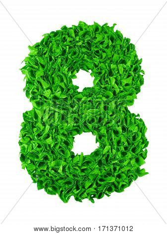 Eight. Handmade number 8 from green crepe paper isolated on white background. Set of numbers from scraps of paper