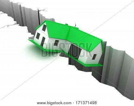 Little green house falling into crevice. Real estate, rent and home concept.