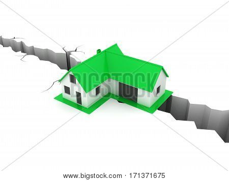 Little green house on fault line. Real estate, rent and home concept.
