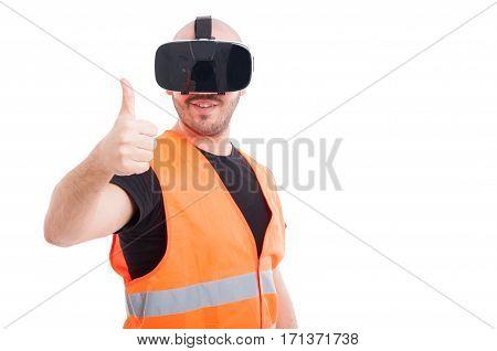Cheerful Young Constructor Showing Thumb Up