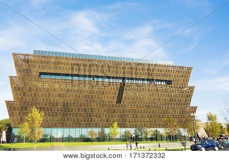 Washington DC USA - October 2016 - Main entry canopy view of the Smithsonian National Museum of African American History and Culture NMAAHC that opened on September 24 2016