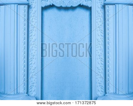 beautiful architectural niche with columns in blue tones