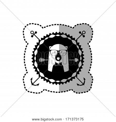 emblem bear hipster hunter city icon, vector illustration image
