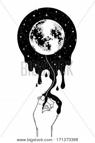 Abstract fantasy hand-drawn moon and human hand. Vector illustration for t-shirt coloring book tattoo postcard.