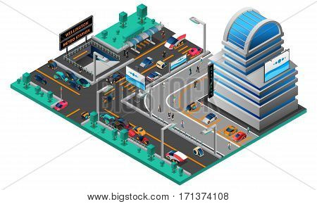 Futuristic cityscape isometric composition with building cars of new generation road and metro station vector illustration