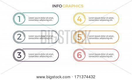 Business infographics. Presentation with 6 options. Vector design elements.