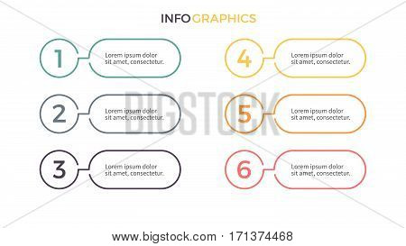 Business infographics. Presentation with 6 steps. Vector design elements.