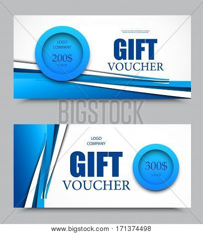 Gift company voucher template on two and three hundred dollars with blue circles and blue dynamic wavy lines pattern. Vector illustration