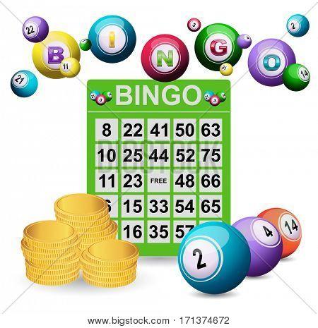 Bingo ticket balls and golden coins