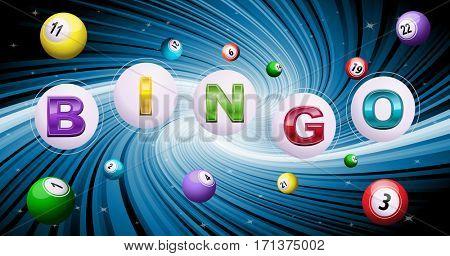 Bingo balls on twisted blue background