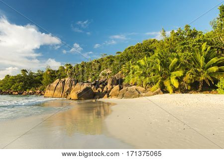 Beautiful and a famous beach Anse Lazio with granite boulders, Praslin island, Seychelles.