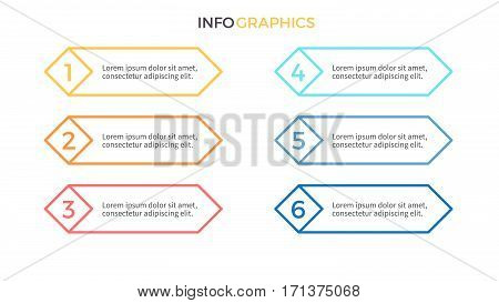 Business infographics. Presentation with 6 steps, options.