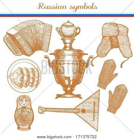 vector hand drawn russian symbols set - garmon samovar ushanka blini mittens matryoshka balalaika