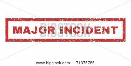 Major Incident text rubber seal stamp watermark. Tag inside rectangular banner with grunge design and scratched texture. Horizontal vector red ink emblem on a white background.