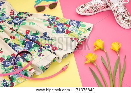 Fashion Summer girl clothes Set, Accessories. Outfit. Stylish Floral Dress, Trendy fashion Sunglasses, flowers. Glamor Hipster Gumshoes. Summer lady Essentials. Creative Design. Fashion Urban Concept