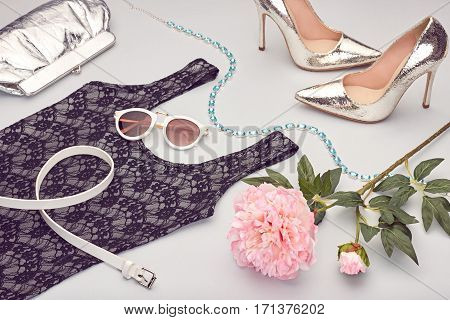 Fashion Design Spring girl clothes Set, Accessories Outfit. Luxury Dress, Trendy sunglasses, fashion Handbag clutch, flower.Glamor shoes heels, Summer fashion lady. Luxury Party Essentials.Creative urban