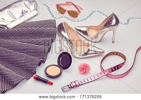 Fashion Design Spring girl clothes Set, Accessories, Cosmetic. Luxury Dress, Trendy sunglasses, fashion Handbag clutch.Glamor shoes heels, Summer fashion lady. Party Essentials.Outfit. Creative urban