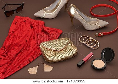Fashion Design woman clothes Set, Accessories, Cosmetic.Luxury Red Dress, Trendy sunglasses, fashion Gold Handbag clutch. Glamor shoes heels, Summer fashion lady. Party Essentials.Outfit.Creative urban