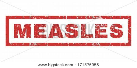 Measles text rubber seal stamp watermark. Caption inside rectangular banner with grunge design and scratched texture. Horizontal vector red ink sign on a white background.