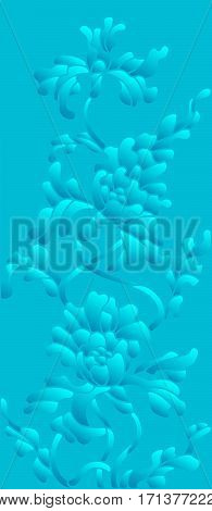 Background illustration with abstract flowers blue halftone vertical orientation