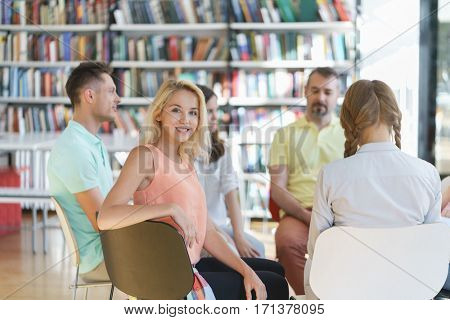 Young smiling woman indoors