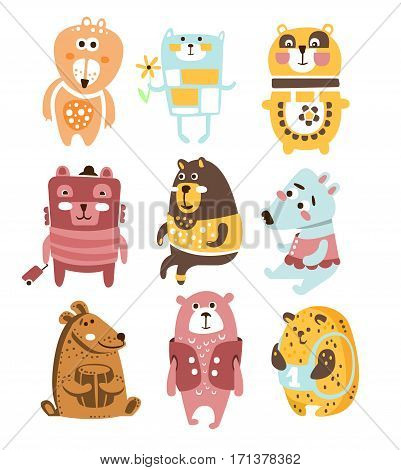 Cute Toy Bear Animals Collection Of Childish Stylized Characters In Clothes In Creative Design. Wild Woodland Animals With Human Attributes Series Of Funky Stickers.