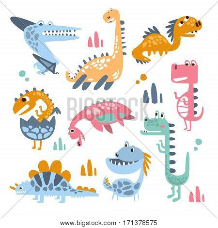 Funky Stylized Dinosaurs Real Species And Imaginary Jurassic Reptiles Collection Of Colorful Childish Prints. Decorative Design Giant Extinct Animals With Teeth And Scales, Friendly Toy Creatures Illustrations.
