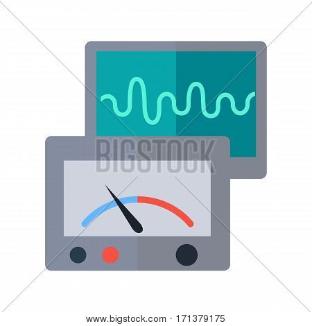 Laboratory measuring devices vector. Flat style. Scientific instruments and tools. Oscillograph screen with parabolic signal. Illustration for scientific and educational concepts. Isolated on white