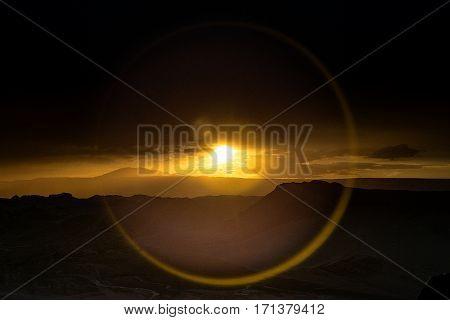 Beautiful sunset in the moon valley, Atacama desert, Chile