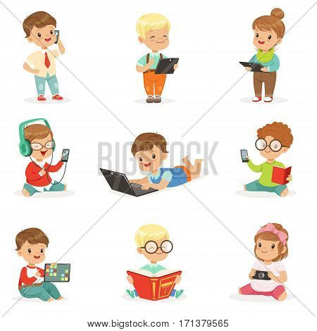 Small Kids Using Modern Gadgets And Reading Books, Childhood And Technology Set Of Cute Illustrations. Adorable Toddlers Using Different Devices Collection Of Cartoon Characters.