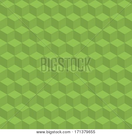 Seamless geometric 3d surface. Greenery vector pattern with volume cubes