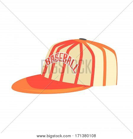 Pitcher Cap With Orange Stripes, Part Of Baseball Player Ammunition And Equipment Set Isolated Objects. Cartoon Realistic Sport Related Item Vector Illustration