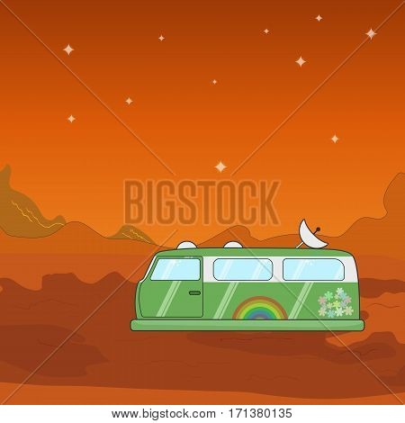 Vector hovercraft van on a foreign planet illustration. Flat image of the fantasy journey on the Mars.