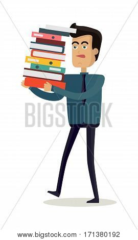 Business man with black hair in business clothes and tie carries a large and heavy stack of documents. Young man personage in flat design isolated on white background. Vector illustration.