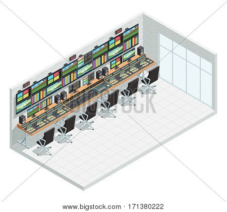 Video tv broadcast studio isometric interior composition with television production facility control room equipment and chairs vector illustration