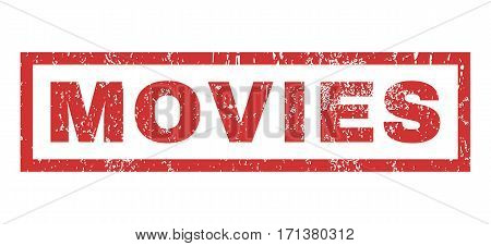 Movies text rubber seal stamp watermark. Tag inside rectangular shape with grunge design and unclean texture. Horizontal vector red ink sign on a white background.