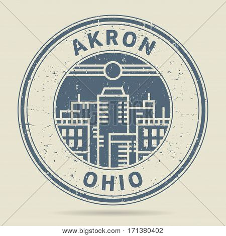 Grunge rubber stamp or label with text Akron Ohio written inside vector illustration