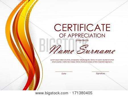 Certificate of appreciation template with digital orange dynamic wavy background. Vector illustration