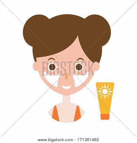 Woman Applying Sunscreen On Cheeks To Protect The The Face From Sunburn, Part Of Summer Beach Vacation Series Of Illustrations. Seaside Holidays Related Infographic Icon In Primitive Vector Carton Style.