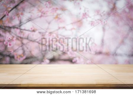 Wood table top on blurred background of pink cherry blossom flowers. display or montage your products. Top of wood empty ready for your product and food display or montage with pink cherry blossom flower (sakura) on sky background in spring season. vintag